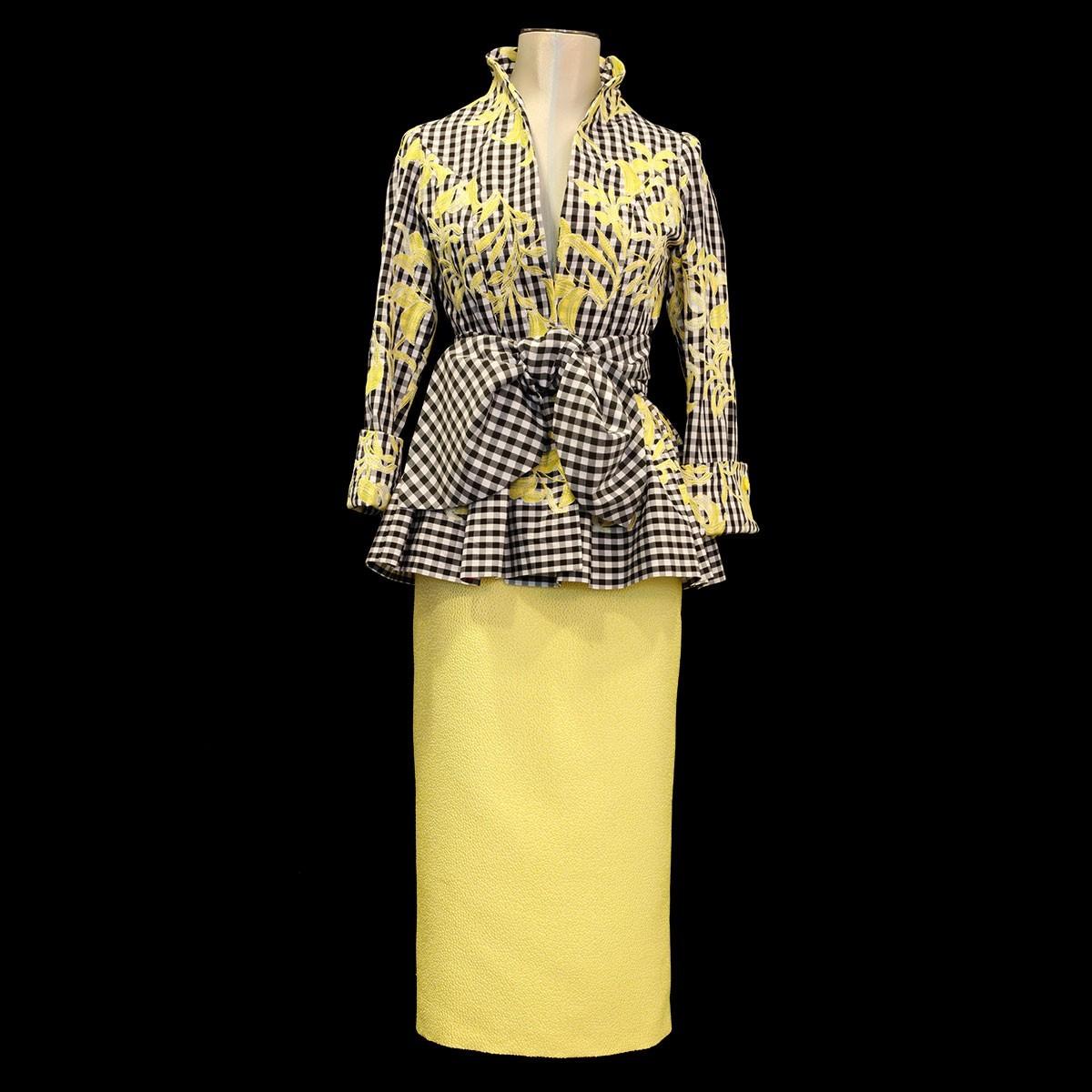 Conjunto de Camisa con cuadro vichy y falda miren brocado